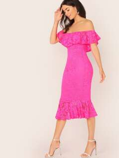 Off Shoulder Ruffle Hem Neon Lace Midi Dress