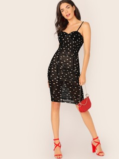 Padded Underwire Bust Polka Dot Shirred Dress