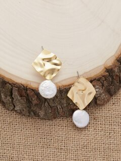 Hammered Square Pearl Detail Stud Back Earrings