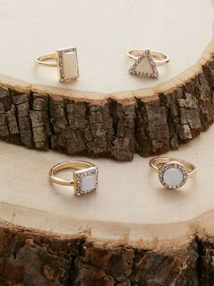 Set Of Four Crystal Halo Opal Stone Rings