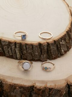 Set Of Four Rhinestone And Crystal Dainty Rings