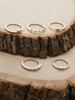 Set Of Five Pave Crystal Rhinestone Stacking Rings