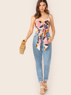 Surplice Wrap Waist Tropical Leaf Crop Tank Top