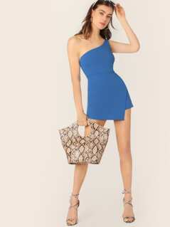 One Shoulder Sleeveless Fitted Skort Romper