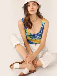 Scoop Neck Tie Dye Sleeveless Bodysuit