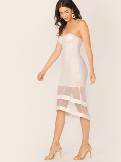 Sweetheart Neck Strapless Mesh Ruffle Hem Dress