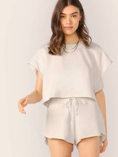 Raw Edge Terry Crop Tee And Lounge Shorts
