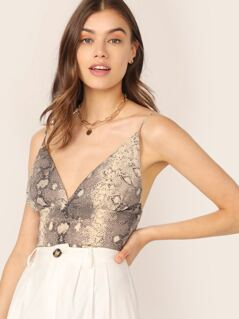 Snakeskin Spaghetti Strap Shirred Crop Cami Top