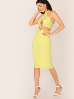 Halter Lace Up Crop Top And Midi Ribbed Skirt Set