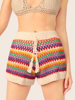 Elastic Waist Crochet Knit Stripe Lounge Shorts
