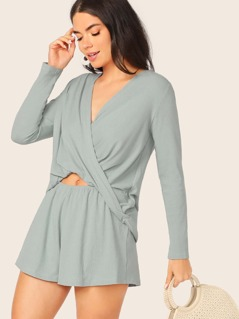 Twist V-Neck Rib Knit Cut Out Long Sleeve Romper