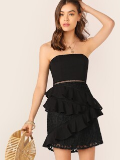 Strapless Tie Back Tiered Ruffle Lace Mini Dress
