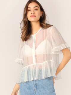 Button Up Pleated Sheer Swiss Dot Ruffle Blouse
