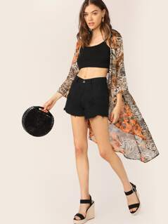 Leopard Floral Open Front Cover Up Kimono