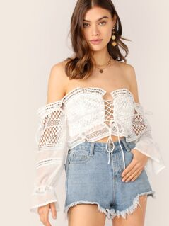 Lace Up Off Shoulder Long Sleeve Boho Crop Top