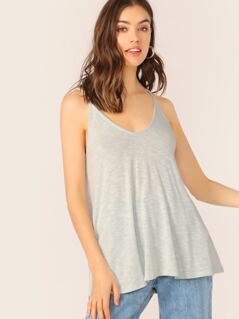 Scoop Neck Slub Knit Swing Cami Top