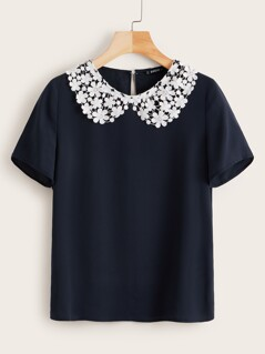 Guipure Lace Peter-pan-collar Top