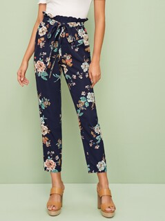 Floral Print Paperbag Waist Self Belted Pants