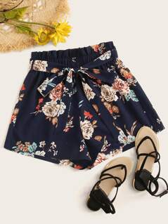 Paperbag Waist Floral Print Belted Shorts