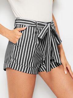Self Belted Slant Pocket Rolled Hem Shorts