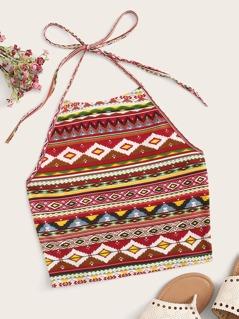 Aztec Print Tie Back Halter Top