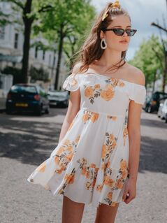 Floral Print Ruffle Hem Bardot Dress