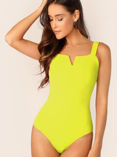 Neon Yellow Notch Neck Form Fitted Bodysuit