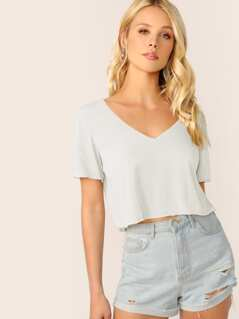 V-neck Solid Crop Boxy Tee
