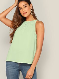 Crinkle Detail Keyhole Back Top
