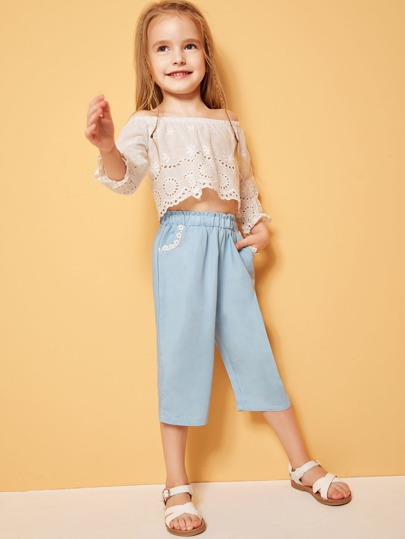 SheIn / Toddler Girls Paperbag Waist Lace Trim Pants