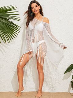 Fringe Hem Sheer Lace Cover Up
