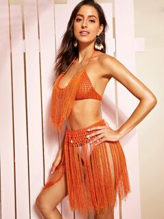 Neon Orange Two Way Top and Skirt Cover Up Set