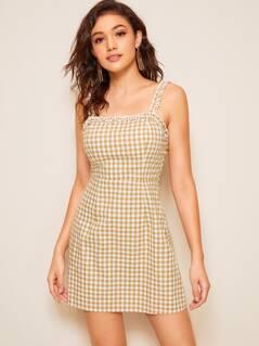 Zip Back Frilled Trim Gingham Print Slip Dress