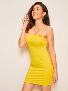 Adjustable Strappy Solid Bodycon Dress