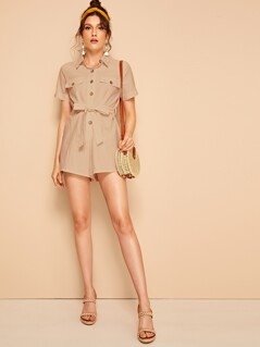 Button Through Solid Belted Shirt Romper
