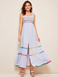 Colorful Pompom Hem Slit Hem Frill Trim Slip Dress
