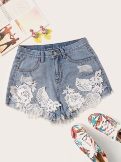 Embroidered Applique Raw Hem Ripped Denim Shorts