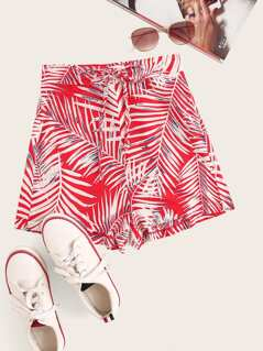 Knotted Waist Palm Leaf Print Shorts
