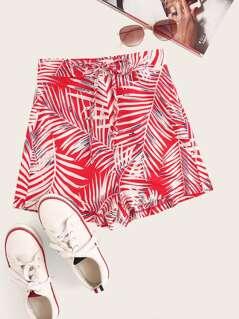 Knotted Waist Palm Leaf Print Shorts