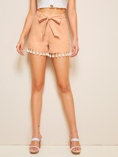 Self Tie Waist Tassel Hem Shorts