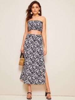 Ditsy Floral Print Slit Hem Straight Skirt