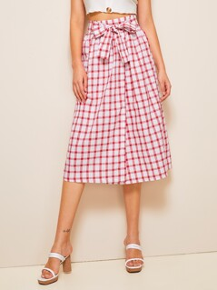 Bow Tie Waist Plaid Wrap Skirt