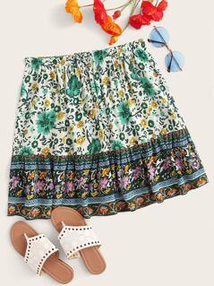 Botanical Print Elastic Waist Skirt