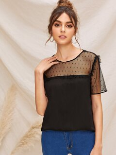 Frill Trim Dobby Mesh Yoke Top