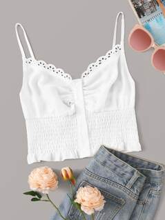 Button Front Frill Trim Shirred Cami Top