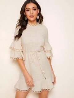 Keyhole Back Flounce Sleeve Circle Lace Trim Belted Dress