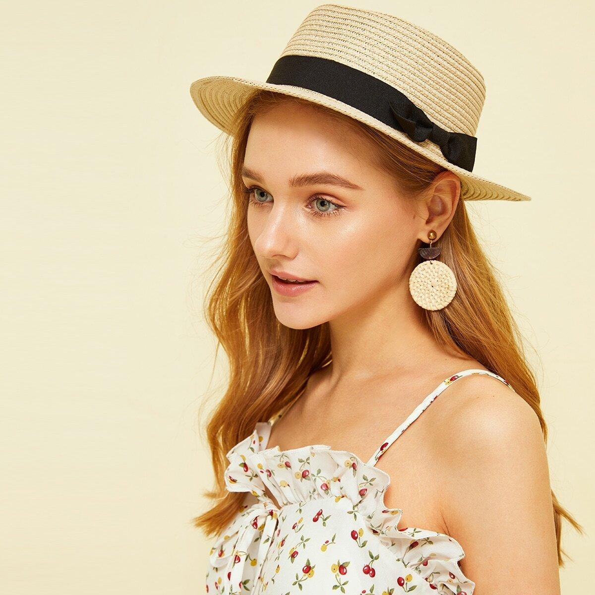Соломенная Шляпка С Контрастной Лентой от SHEIN