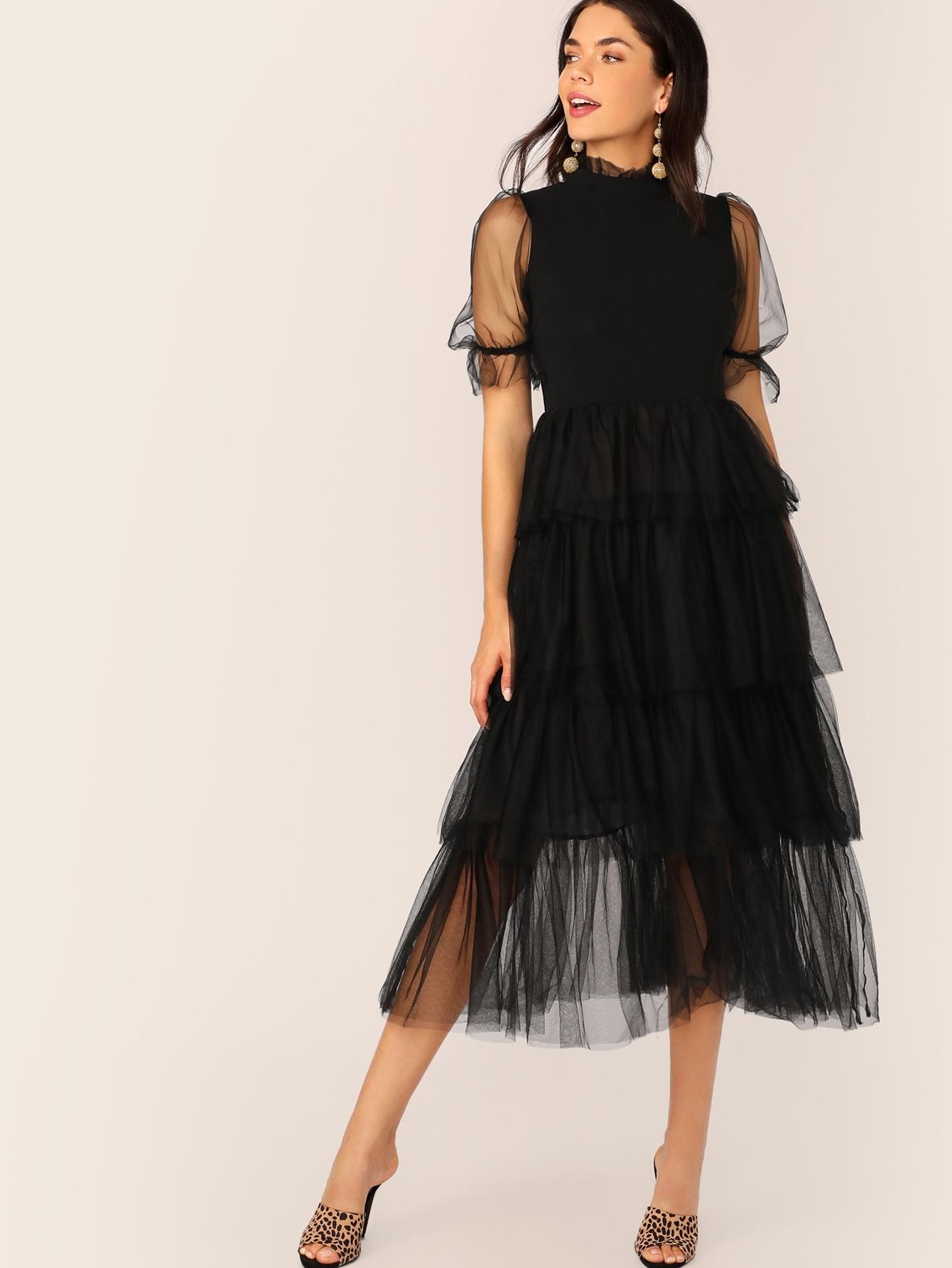 Фото - Сетчатое платье с оригинальным рукавом и складным воротником от SheIn цвет чёрные