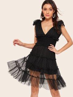 Plunging Neck Frill Trim Shirred Swiss Dot Mesh Dress