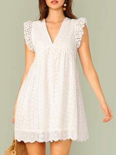 Ruffle Armhole Eyelet Embroidered Smock Dress